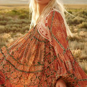 Free People Pink City Dress Maxi Printed New